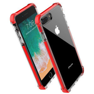 for iPhone 8 Plus case iPhone 7 Plus case,Noii Clear Hybrid Drop Protection case,[TPE Super Rubber Bumper] Shockproof case,Upgraded Reinforced Edges Technology,Heavy Duty Protective Cover - Red