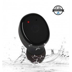 IPX8 Waterproof Bluetooth Earbud, Single Smallest Wireless Earbud Earpiece Headset Headphone Earphone Car Headset with Clear Microphone for iPhone ipad Samsung Android Smart Phones(One Pcs)-Black