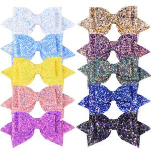 SIQUK 10 Pieces Glitter Hair Bows 5 Inch Bling Party Hair Bows Clips Multi Color Glitter Sequins Big Hair Bows Hair Accessories for Girls (Bonus: 1 pc Storage Bag)
