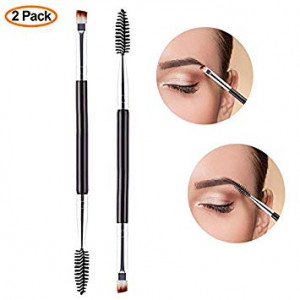 Duo Eyebrow Brush 2 Pack, Professional Makeup Tool, Angled Eye Brow Brush and Spoolie Brush