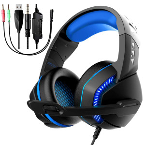Gaming Headset Microphone, Noise Reduction Headphone, Over-Ear Bass Surround Sound Stereo Earphone, Volume Control Earmuffs LED Lights PC Gamers/PS4/Xbox One/Laptop/Playstation (Black Blue)