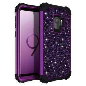 Casetego Compatible Galaxy S9 Case,Glitter Sparkle Bling Three Layer Heavy Duty Hybrid Sturdy Armor Shockproof Protective Cover Case for Samsung Galaxy S9-Shiny Purple