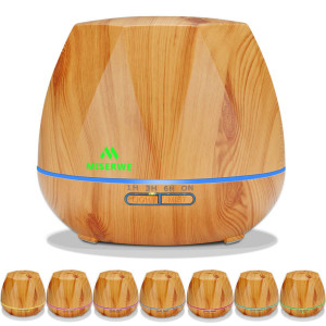 Miserwe Diffuser 550ML Essential Oil Diffuser with Adjustable Mist Mode and 4 Timer Setting Diffuser for Essential Oils Waterless Auto Shut-off with 7 LED light for Home Office Yoga Spa
