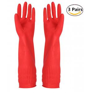 Rubber Cleaning gloves Kitchen Dishwashing glove 3-Pairs,Waterproof Reuseable. (Medium)
