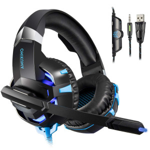 ONIKUMA K2 Gaming Headset - Headset Gaming Headphones for PS4, Xbox One, PC, Nintendo Switch, Mac, Laptop with Noise Cancelling Micphone, Soft Memory Earmuffs and LED Light