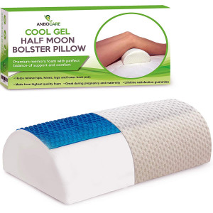 ANBOCARE Half Moon Bolster Pillow - Half-Cylinder Cool Gel Memory Foam Relief Neck Lumbar Knee and Back Pain - Semi Roll Wedge for Leg Elevation Ultimate Support for Back and Side Sleepers