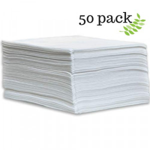 DAVELEN Disposable Large Luxury Towels (50-Count) Spa and Salon Quality Softness for Guests, Clients | Hair, Face, Body Use | Luxurious Comfort, Hygienic, Ecofriendly | Towels Size: 31.5 x 15 (white)