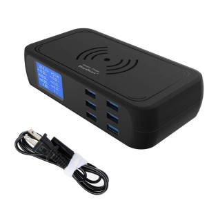 Veebon Wireless Charger and 6-Port USB Charger, 60W/12A Desktop 2 in 1 Charging Station W/LCD Display Compatible with iPhone, iPad, Android Phone and More