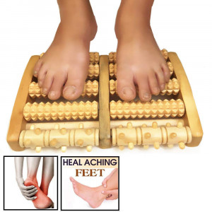 Wooden Dual Foot Massager Roller (Large) Pain Relieve Plantar Fasciitis, Foot Pain, Arch Painand Stress Massage, Relax, Chinese Massager - Perfect Gift Idea