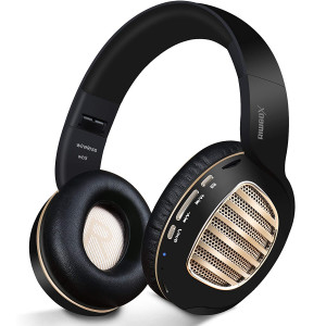 Bluetooth Headphones, Riwbox WB5 Bluetooth 4.2 Wireless Foldable Headphones Over Ear with Microphone, 5 EQ Sound Modes, Soft Memory-Protein Earmuffs, Wireless and Wired Headset for PC (Black Gold)