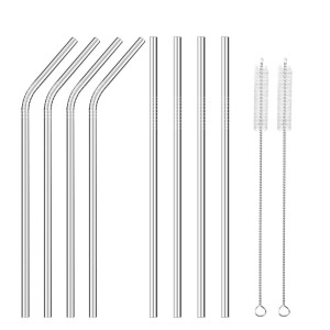 Stainless Steel Metal Straws Set of 8, 4 Straight, 4 Bent and 2 Brushes, Ultra Long 10.5 inch Reusable Drinking Straws for 30 oz Tumblers Yeti by Vallgox