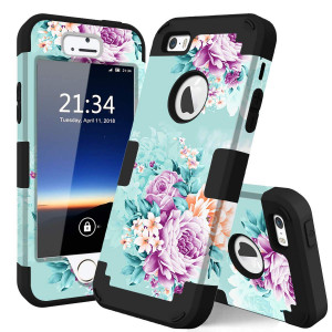 iPhone 5s Case,iPhone SE case,iPhone 5 case,PIXIU Unique Hybrid Dual Layer [Hard PC+ Soft Silicone] Impact Full-Body Shockproof Protective Case Apple iPhone 5s/5/SE Peonies