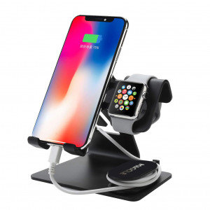 Cell Phone Stand for iPhone Xs/XR /XS Max, Magcle Aluminum Watch Stand for Apple iWatch Series 4/3/2/1 Charging Stands Dock,3 in 1 Stands Holder for Nintendo Switch,for iPad,Tablet(4-13 inch)(Black)