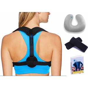 Back Posture Corrector for Women and Men  Effective and Comfortable Posture Brace for Slouching and Hunching - Adjustable Back Brace Upper Back Pain Relief  Clavicle Support  Free Inflatable Neck Pillow