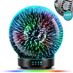 3D Aromatherapy Essential Oil Diffuser  Newest Version fragrance oil Humidifier, 7 LED Color lighting modes including firework theme, Premium Ultrasonic mist, Auto-Off Safety Switch, Car Vent Clip