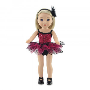 """Emily Rose 14 Inch Doll Clothes   Doll Jazz Ballet Outfit, Includes Leotard , Tutu, Matching Headband and Black Tap Shoes   Fits 14"""" American Girl Wellie Wishers and Glitter Girls Dolls   Gift Boxed!"""