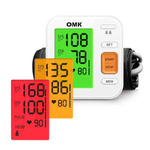 Blood Pressure Monitor Tricolor Backlit, OMK Automatic BP Monitor with Large Cuff 22-40cm, 2x120 Memories, Irregular Heartbeat Detection, Accurate and Easy to Use, FDA and CE Approved