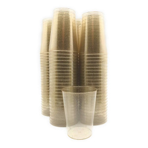 10 Ounce Clear Gold Glitter Disposable Plastic Cups (100 Count)  BPA-Free, Durable, Ideal for Home, Office, or Business, Wedding, Bridal Shower, Baby Shower, Gold Glitter theme