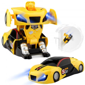 Betheaces Remote Control Car, Transforming Wall Climbing Toys RC Car Gift for Boys Girls, Rechargeable 360Rotating with One-Button Deformation Function and LED Light, Robot Cars Kit Toy for Kids