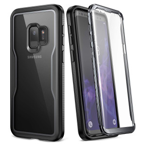 YOUMAKER Crystal Clear Case for Galaxy S9 5.8 inch, Full Body with Built-in Screen Protector Heavy Duty Protection Slim Fit Shockproof Rugged Cover for Samsung Galaxy S9 5.8 inch (2018) - Clear/Black
