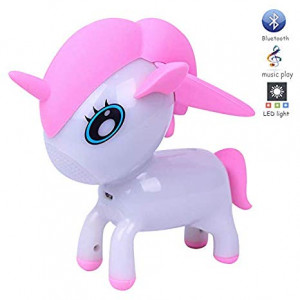GRULLIN Unicorn Bluetooth Speakers for Kids Portable Wireless Speaker with RGB Color Night Lamp Music Player (Pink)