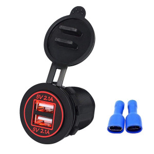 LinkStyle 12V 4.2A Dual USB Charger Socket Waterproof Power Outlet with Red LED Indicator Light and Dual Charging Ports for 12V Car RV Boat Marine Motorcycle Mobile
