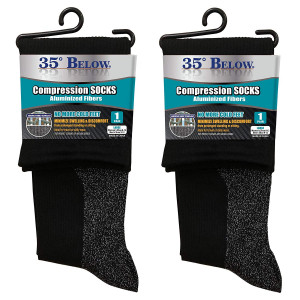 35 Below Compression Socks - As Seen On TV - 2 Pairs in Black; Size Large  2-IN-1 Compression and Warming Socks  Aluminized Thread with Aerospace Fabric Technology