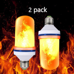 2018 Flame Bulb, LED Flame Effect Light Bulb, E26 Standard Base, Atmosphere Decoration Fire Flickering Simulation 108pcs 2835 LED Beads -Flame Bulb for Home Decoration (2 Pack)