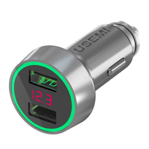 Car Charger, AXBIDY 5V/3.6A Car Charge Adapter Dual USB Car Charger with LED Display Car Voltage Detector Compatible Phone x/8/7/6s, iPad Air 2/Mini 3, Samsung Note9/ Galaxy S9/ S8 Plus/S7(Sliver)