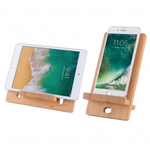 Cell Phone Tablet Stand, InkoTimes Bamboo Tablet Dock: Cradle, Holder, Stand Compatible Switch, All iOS and Android Smartphones, Tablets, Pad, Phone X XS Max XR Charging Accessories Desk