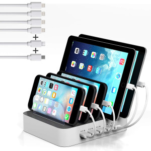 MSTJRY USB Charging Station Multiple Devices Organizer 5 Port Multi Device Docking Station(White, 6 Shorts Cables Included)