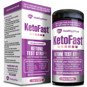 Keto Fast Ketone Test Strips 150ct - Made in USA - Easy to Read Sensitive Ketogenic Urinalysis Testing Sticks - Daily Ketones Measurement - Urine Keto Strips Ideal for Atkins, Paleo Diet and Diabetes.