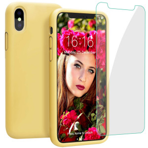 "JASBON Case for iPhone Xs Max 6.5 inch (2018), Liquid Silicone Shockproof Cover with Free Screen Protector for Apple iPhone Xs Max 6.5""-Yellow"