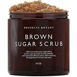 Brown Sugar Body Scrub - Exfoliating Face Scrub and Body Scrub for Cellulite, Stretch Marks, Acne, and Varicose Veins, 10 oz - Brooklyn Botany