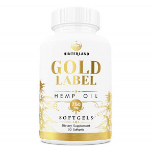 Hinterland Gold Label Hemp Oil Softgels, 25mg Capsules for Pain Relief, Anti-Anxiety, Less Stress, Better Sleep, Organic USA Grown Hemp, 30 Count, 750mg per Bottle