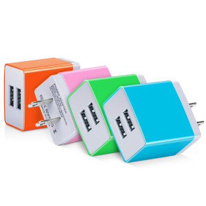 USB Wall Charger, Canjoy 4-Pack Dual Port USB Wall Charger Adapter 3.1A Charging Plug Cube Compatible iPhone X/8/7/6/6S,iPad,Samsung Galaxy S9/S9+/S8/S8+,Moto,LG,Android(Blue/Green/Pink/Orange)