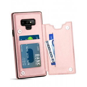 HianDier Wallet Case for Galaxy Note 9, Slim Protective Case with Credit Card Slot Holder Flip Folio Soft PU Leather Magnetic Closure Cover Case Compatible with Samsung Galaxy Note 9, Rose Gold