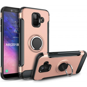 Galaxy A6 2018 Case,GETE 360 Degree Rotating Ring Holder Kickstand Protective Phone Cases Cover for Samsung Galaxy A6 2018 (Rose Gold)