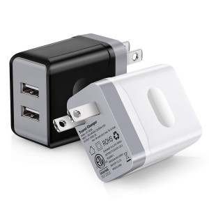 USB Wall Charger,High Speed USB Charger Outlet,iSeekerkit Dual USB 3.0AMP Wall Charger Plug Power Adapter Charger Block Cube Compatible iPhone X, iPhone 8/8 Plus, Samsung Galaxy and More