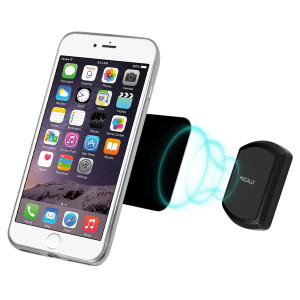 Macally Universal Stick-On Magnetic Phone Mount Holder with Strong Adhesive for Flush Mounting on Walls or Flat Surfaces in Car, Kitchen, Office for iPhone, Android Cell Phones, Small Tablets