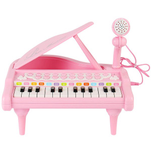 ConoMus Piano Keyboard Toy for Kids,1 2 3 4 Year Old Girls First Birthday Gift, 24 Keys Multifunctional Musical Electronic Toy Piano for Toddlers