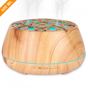 Essential Oil Diffuser, (400ML, Unique 4 Mist Holes)Ultrasonic Aromatherapy Fragrance Diffuser Humidifier with Auto-Off, Adjustable Mist, 7 Color LED, Timer Setting for Home Office Yoga Spa-Wood Grain