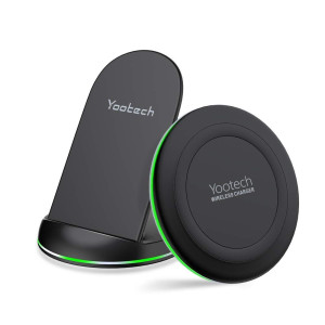 yootech Wireless Charging Bundle, Qi-Certified Wireless Charging Pad Stand, Wireless Charger Compatible with iPhone Xs Max/XR/ XS/X/ 8/Plus, and More (AC Adapter Not Included)