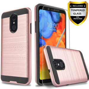 LG Q7 Plus Case, LG Q7 Case With [Tempered Glass Screen Protector] Circlemalls 2-Piece Style Rugged Drop Protective Shockproof Phone Cover And Stylus Pen-Rose Gold