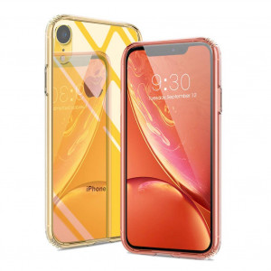 Meidom iPhone XR Case Crystal Clear Slim Fit with Silicone Bumper and Tempered Glass Back Double Protection Phone Case for iPhone XR (6.1 inch) - Clear