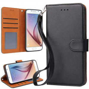 OKILA Galaxy S6 Case Wallet Leather Flip Cover with Kickstand and Card Slot for Samsung Galaxy S6 Slim Phone Case (Black)