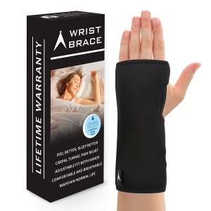ATX Night Sleep Support Wrist Brace - Carpal Tunnel Relief - Fits Both Left and Right Hand - Removable Metal Splint and Cushioning Beads for Painless Sleep - Men and Women