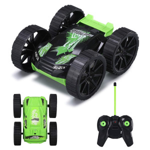 Remote Control Car, RC Stunt Vehicle 360Rotating Rolling Double-sided 4WD Radio Control Cool Kids Toy Gifts for Boys and Girls Green MKB(Battery Included)
