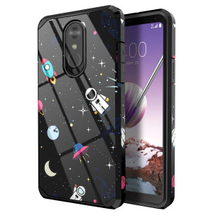 PBRO LG Stylo 4 Phone Case/LG Stylo 4 Case/LG Q Stylus Case,Cute Astronaut Case Dual Layer Soft Silicone and Hard Back Cover Heavy Duty PC+TPU Protective Shockproof Case for LG Stylo 4 Case Space/Black
