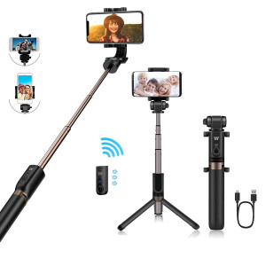 Selfie Stick Bluetooth,TRONOE 2 in 1 Extendable Monopod Selfie Stick with Bluetooth Detachable Remote,Adjustable Head,Selfie Stick Tripod Compatible iPhone/Huawei/Samsung with Charging Cable (Black)